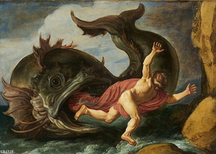 تابلو نقاشی حضرت یونس در دهان ماهی اثر میکل آنژ
