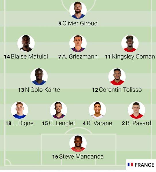 ترکیب فرانسه مقابل ایسلند+عکس