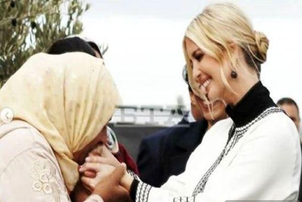 جنجال بوسه بر دستان دختر ترامپ
