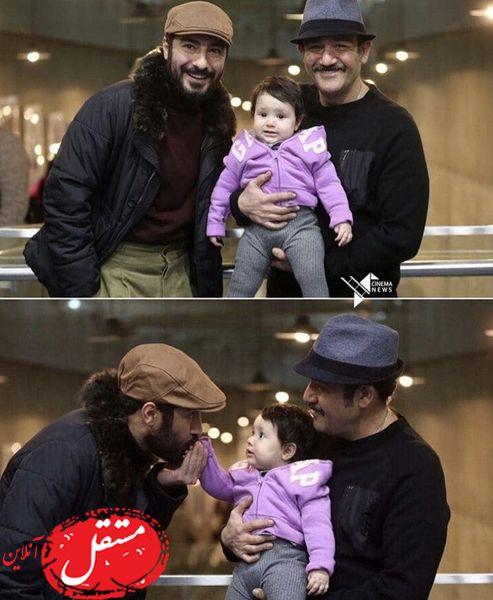 نوید محمد زاده در کنار آقای بازیگر و دخترش + عکس