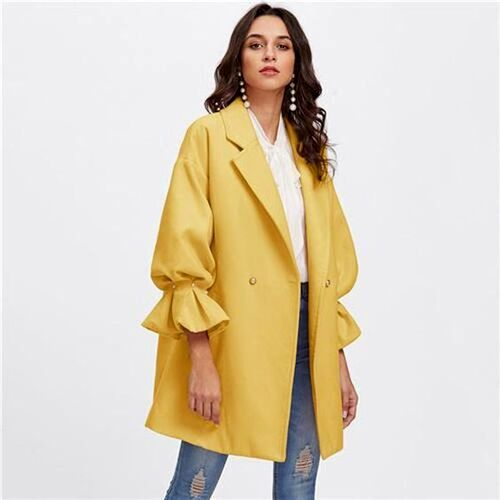 ست مانتو زرد با شومیز سفید و شلوار جین