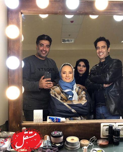 نیما فلاح و همسرش در اتاق گریمشون + عکس
