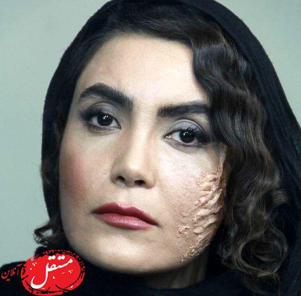 خانم بازیگر با گریم صورت سوخته + عکس