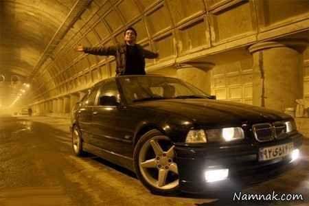 فرزاد حسنی سوار بر ماشین BMW