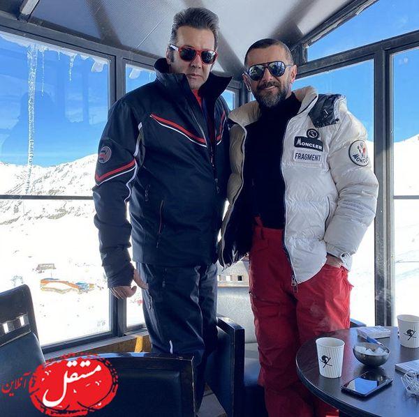 حسام نواب صفوی و امین حیایی در پیست اسکی + عکس