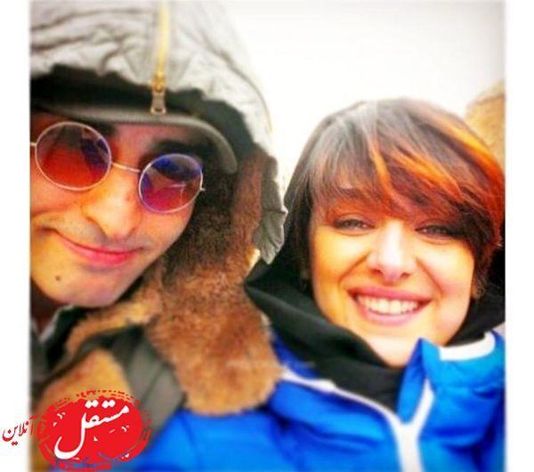 ویدا جوان و همسرش با لباس زمستانی + عکس