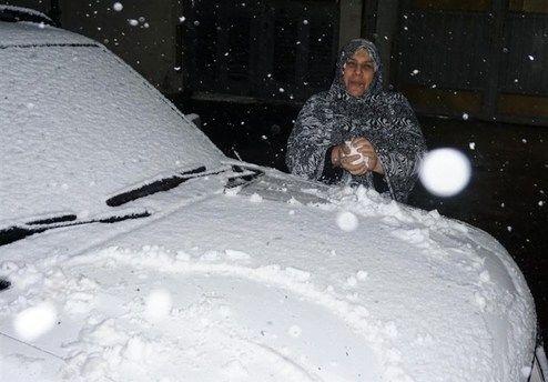 بارش برف در بغداد پس از ۱۲ سال +تصاویر