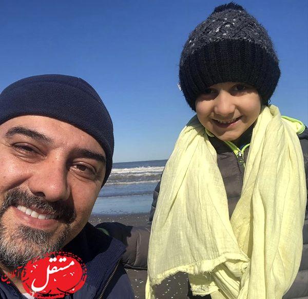 ََآقای بازیگر و پسرش لب دریا + عکس