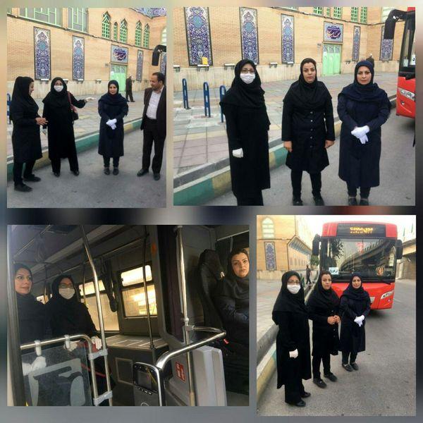 بازدید سرزده اعضای شورای اسلامی از عملکرد تنها راننده زن اتوبوسرانی اراک