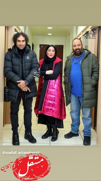 علی اوجی و رضا یزدانی در کنار خانم بازیگر جوان + عکس