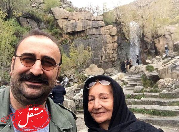 همدان گردی مهران احدی با مادرش + عکس