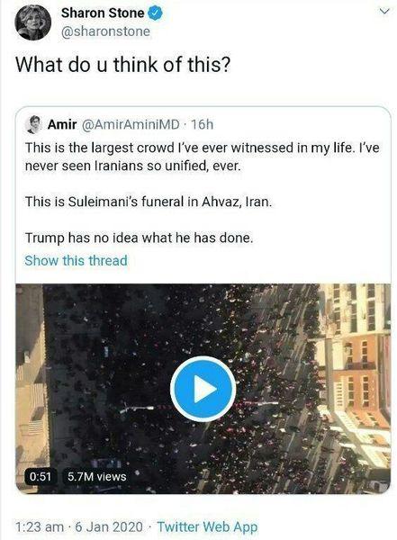 واکنش بازیگر هالیوودی به تشییع پرشور سردار سلیمانی