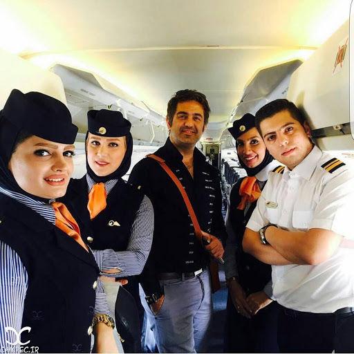گیر افتادن بازیگران مشهور ایرانی در هواپیما در یخبندان + فیلم